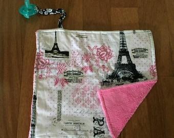 Pink Paris Pacifier Blanket