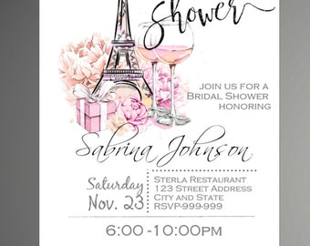 paris bridal shower invitation eiffel tower invite paris shower invitation printable invitation instant download