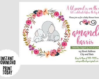 Elephant BABY SHOWER Invitation, Elephant Invite, Flower Shabby Chic, Girl Baby Shower- Instant Download