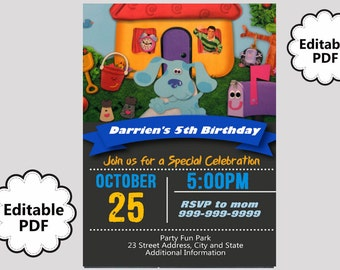 EDITABLE TEXT Blues Clues Birthday Invitation - Blues Clues Birthday Invites -  Blues Clues Birthday Invite -Instant Download