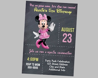 Minnie Mouse Birthday Invitation - Minnie Mouse Birthday Invites - Minnie Mouse Birthday Invite - Instant Download