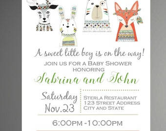 Woodland Baby Shower Invitation, Tribal, Aztec Style Invitation, Forest Friends Invitation, Baby Shower Invitation - INSTANT DOWNLOAD