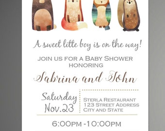 Woodland Baby Shower Invitation, It's a Boy, Rustic Style Invitation, Forest Friends Invitation, Baby Shower Invitation - INSTANT DOWNLOAD