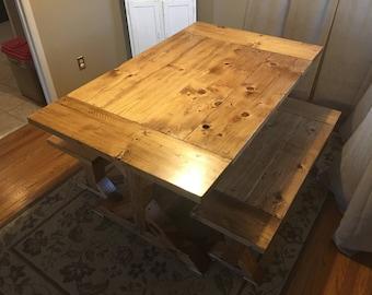 Dining Room Table Set W/ Trestle Legs