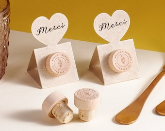 Favor Card with Personalized Wine Cork Stopper with Thank You Card REAL Grass - Pop-up Stopper Stand CARD - Original idea - Free Shipping