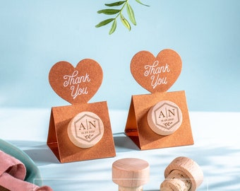 Wedding favors for guests in bulk Personalized Wine Stoppers with Thank You Stand Card - METALLIC Copper Pop-up Stopper Stand Card