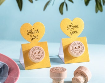 Wine Stopper Wedding Favor Personalized with Thank You METALLIC GOLD Pop-up Stopper Stand CARD - Original idea - Free Shipping