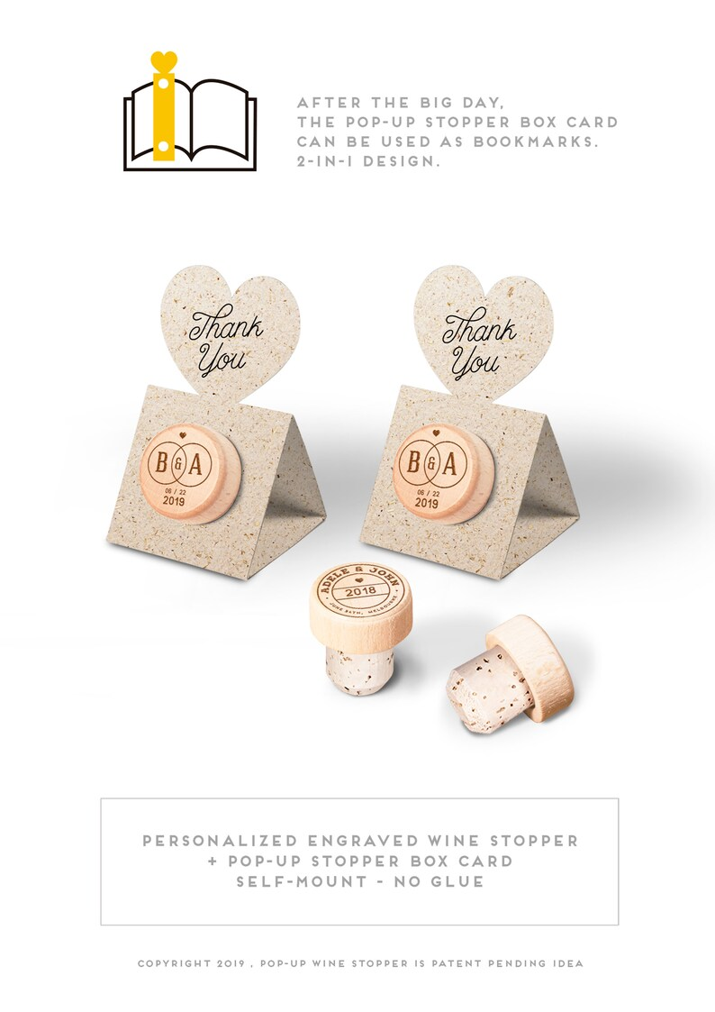 Favor Card with Personalized Wine Cork Stopper with Thank You image 0