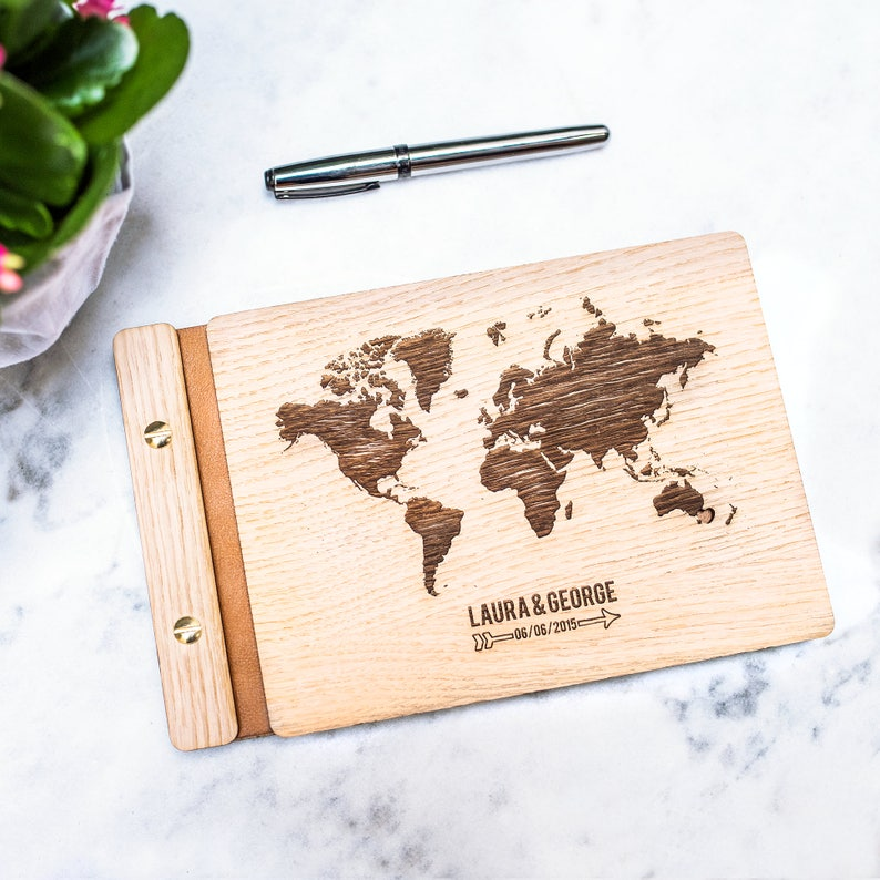 Custom Atlas Guest book  Wooden Engraved Rustic Wedding  image 0