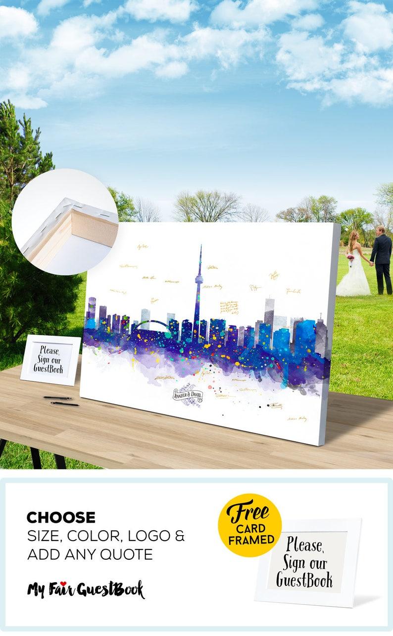 Wedding Guest Book TORONTO Skyline Guest Book CANVAS  Wedding image 0