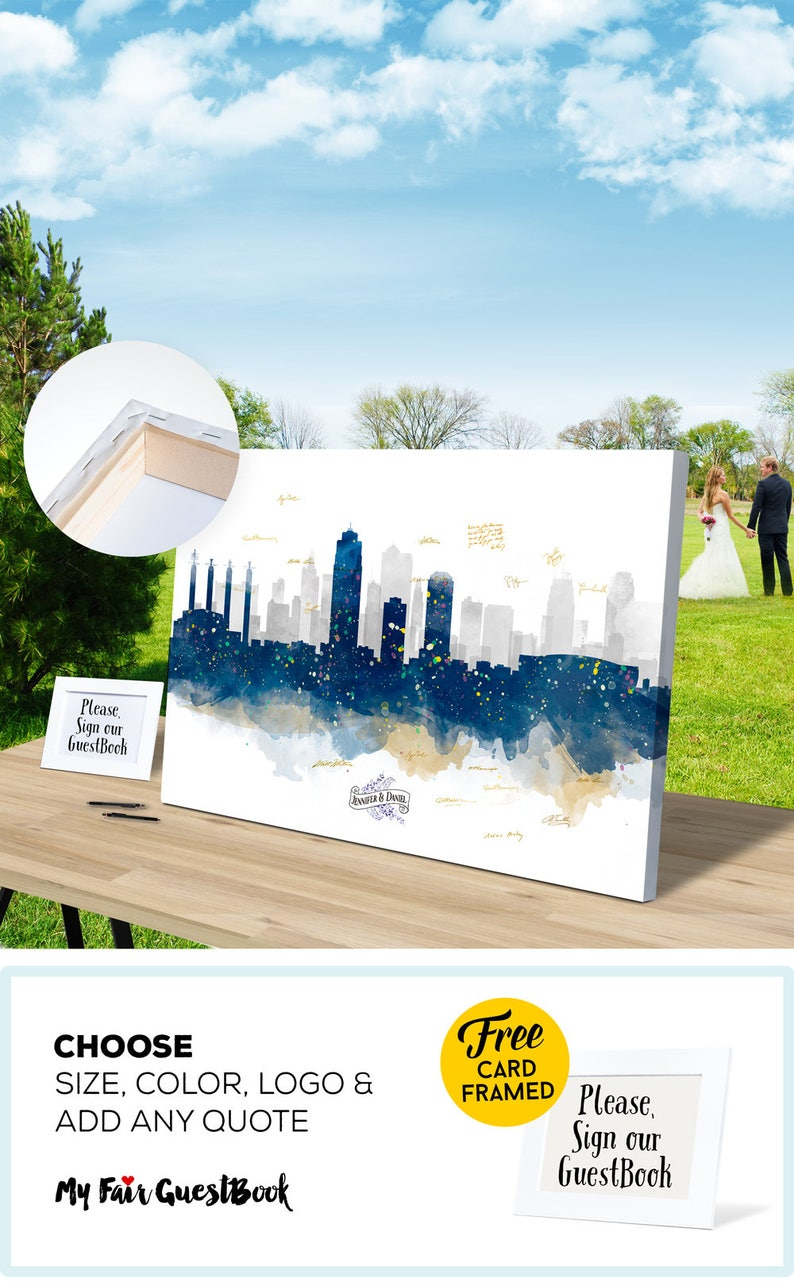 Custom Wedding Gift KANSAS Skyline Wedding Sign Wedding Gift image 0