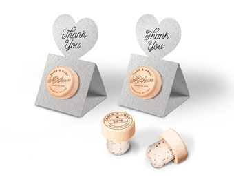Personalized Wedding Favors Wine Cork Stopper - Winery Wedding - Metallic SILVER Pop-up Stopper Stand Card - Original idea - Free Shipping