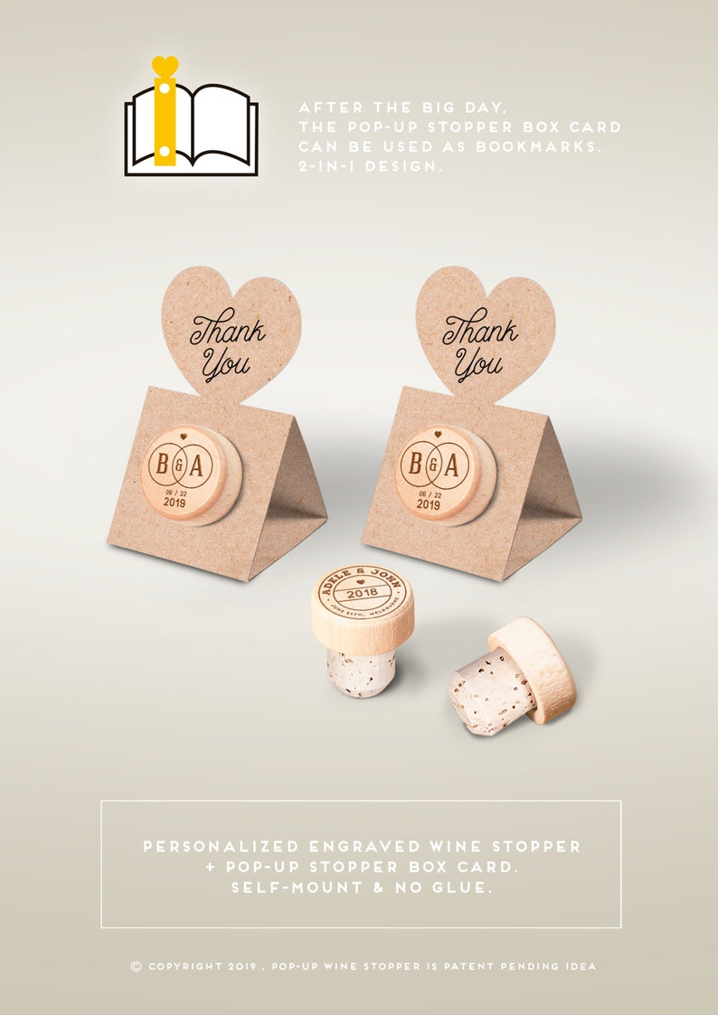 Wedding Favors  Personalized Wine Cork Stopper with Thank You image 0