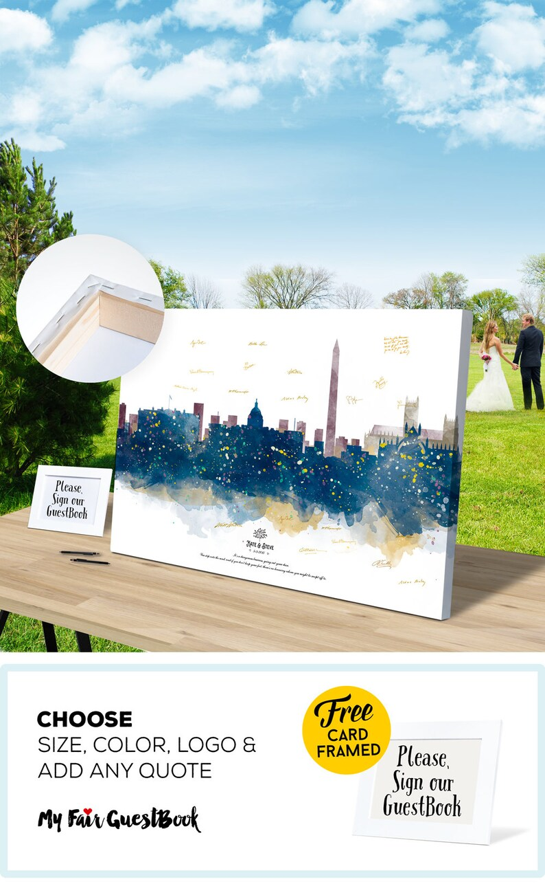 Wedding Guest Book Gift Ideas Washington Skyline CANVAS Guest image 0