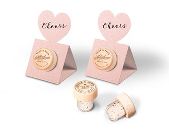 Vineyard Wedding Favors - Personalized Wine Cork Stopper with Metallic NUDE Pop-up Stopper Stand CARD - Original idea - Free Shipping