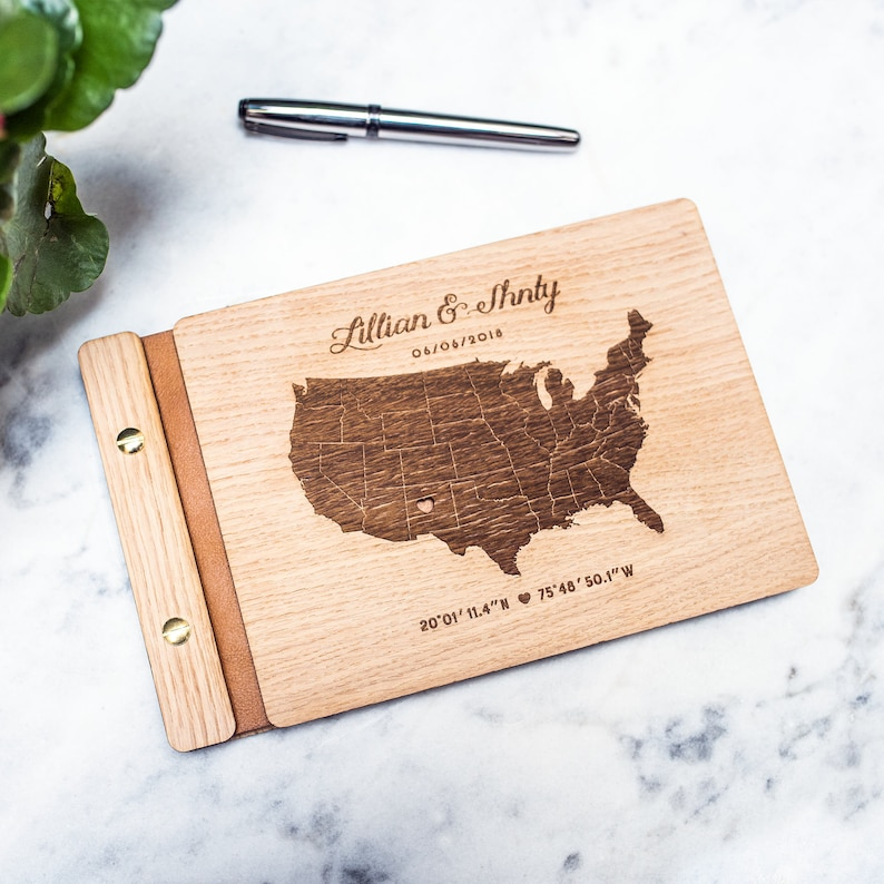 Personalized Wedding Guest book  Wooden Engraved Guest Book image 0
