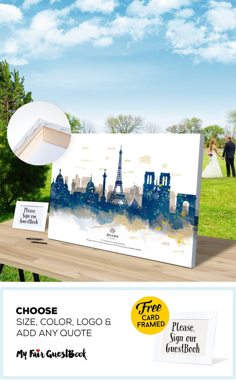 Paris Wedding Guest Book Skyline Guest Book CANVAS  Wedding image 0