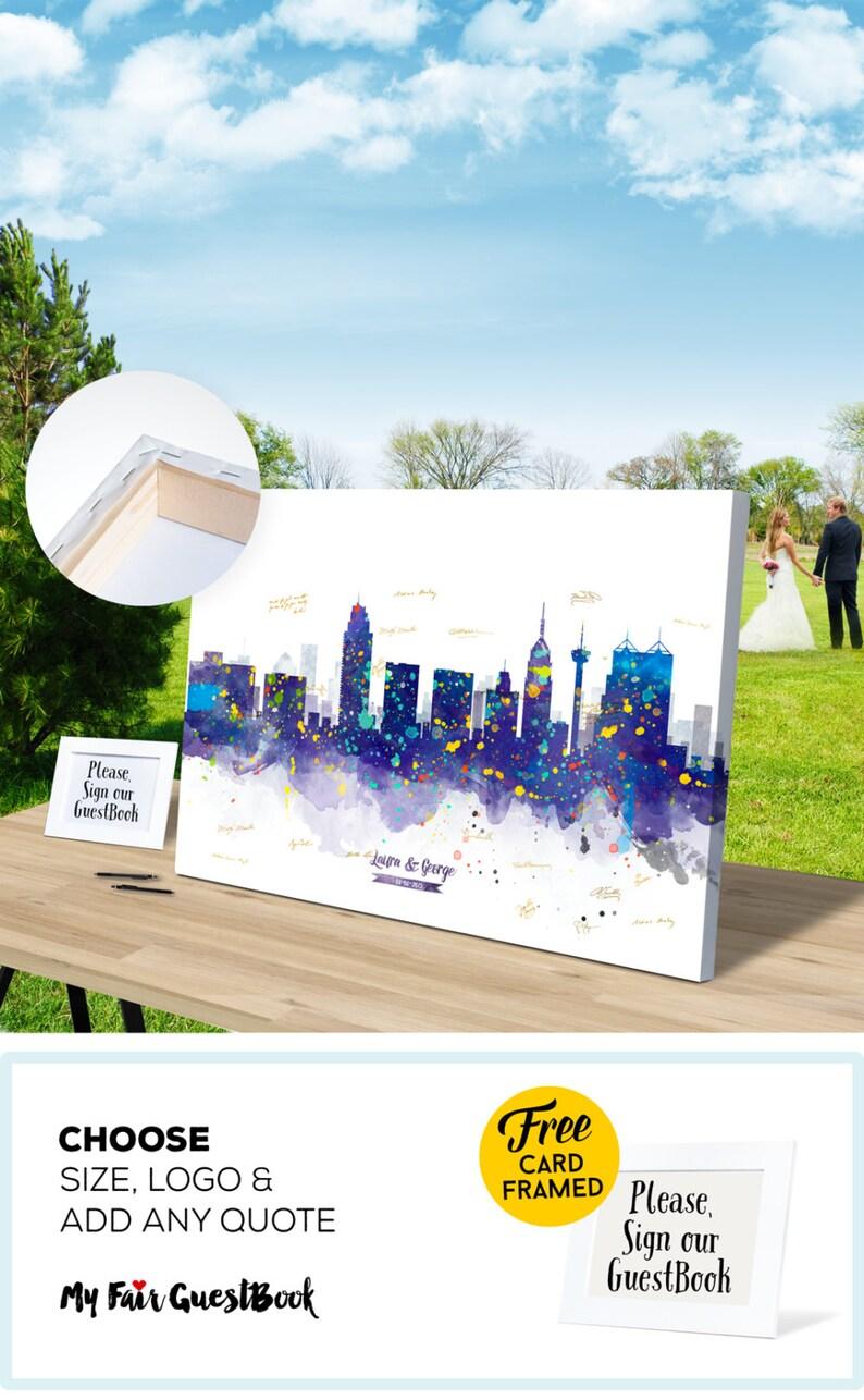 Wedding Guest Book Gift Ideas San Antonio Skyline CANVAS Guest image 0