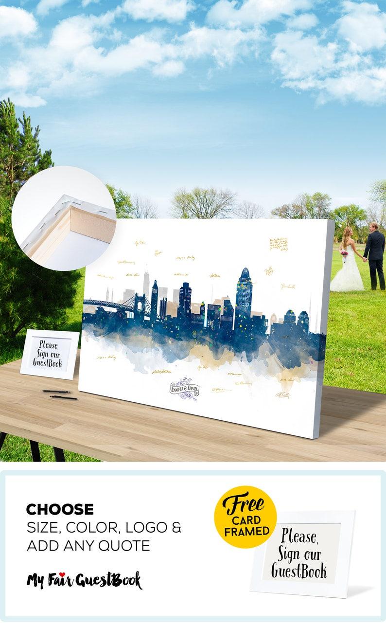 Alternative Cincinnati Wedding Guest Book Skyline CANVAS Guest image 0