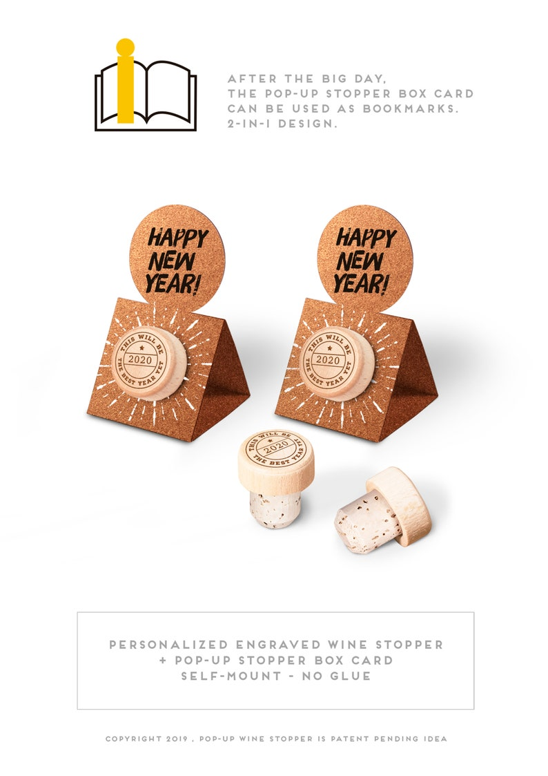 New Year Eve Favors  Wine Cork Stopper New year gift with image 0