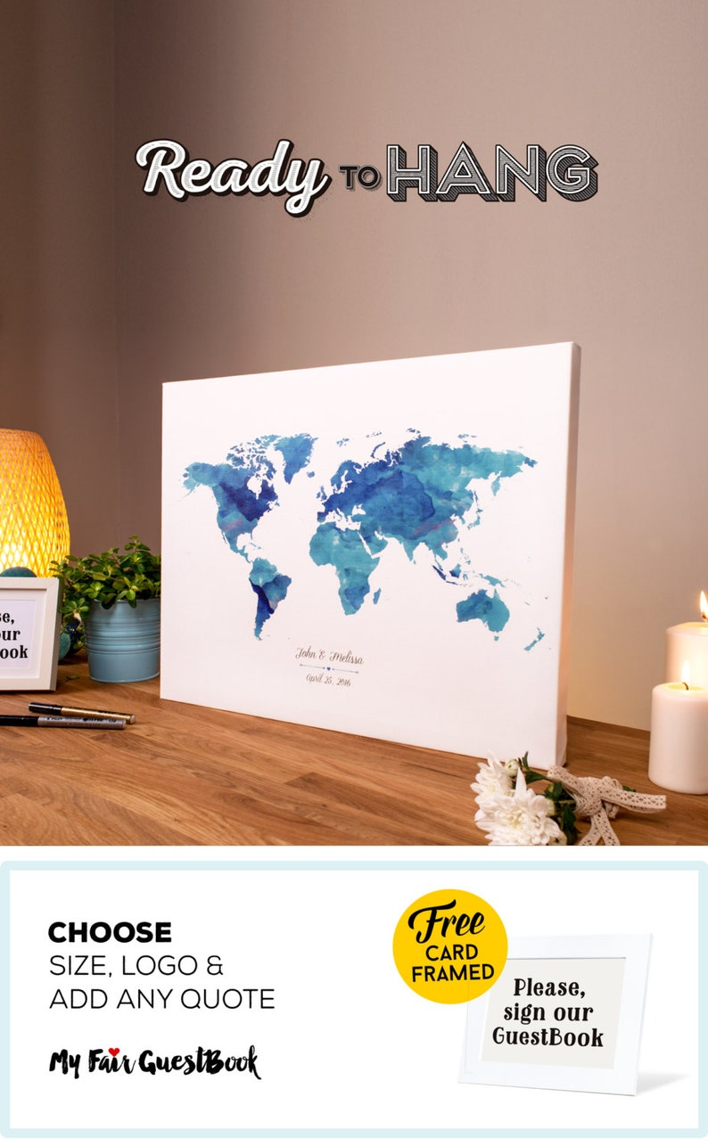 Wedding Guest Book Watercolor CANVAS Wrap World Map  Add image 0
