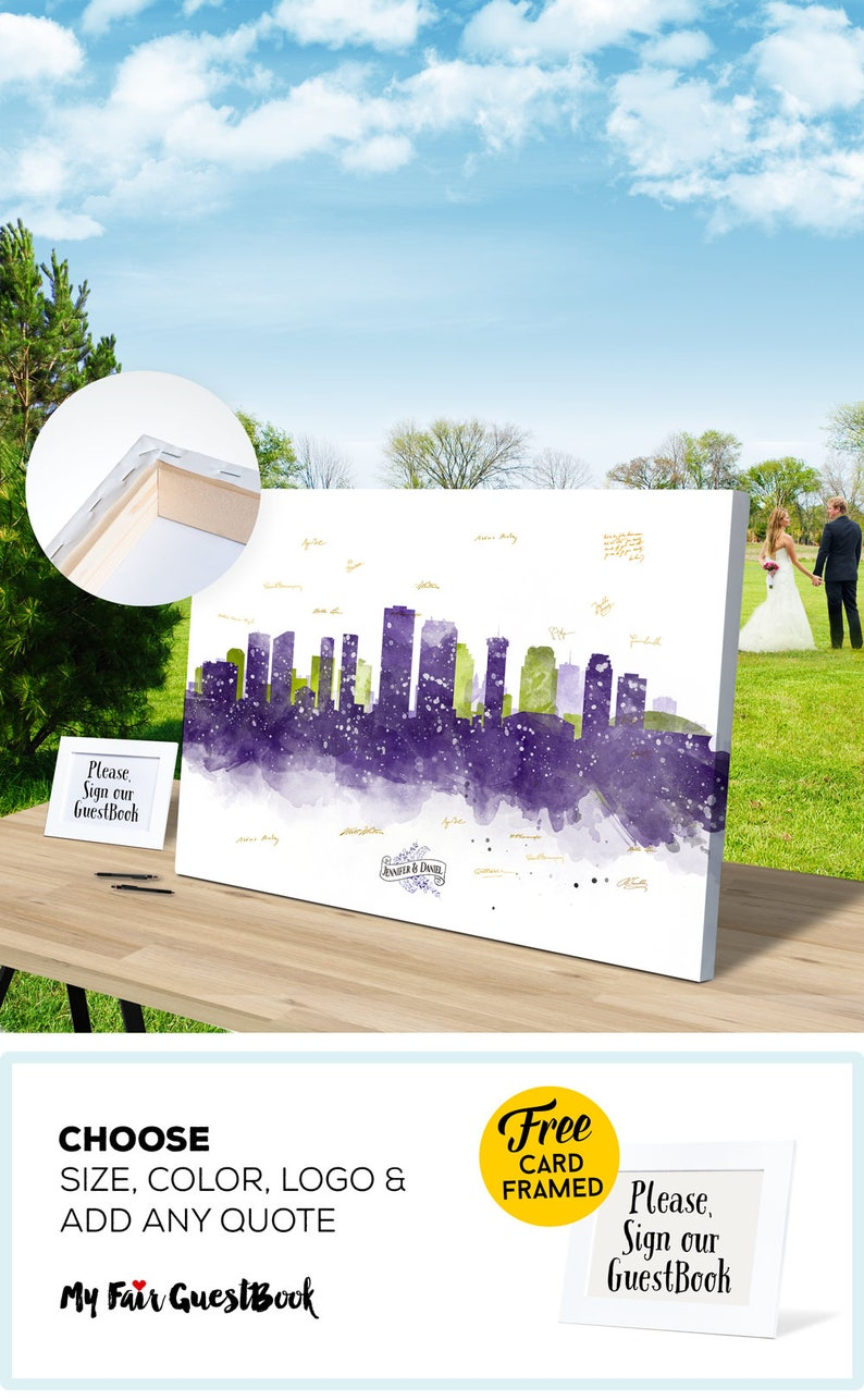 WEDDING Alternative Guest Book New Orleans Purple Skyline image 0