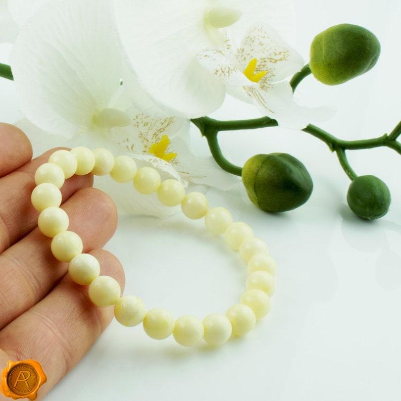 Pure White Baltic Amber Elastic Bracelet  White Amber Beads Elastic Bracelet for Women  White Gemstone Bracelet  White Amber Jewellery