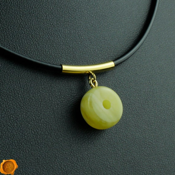 White Butter Color Natural Baltic Amber Donut Shape Amulet Pendant On Leather String 23