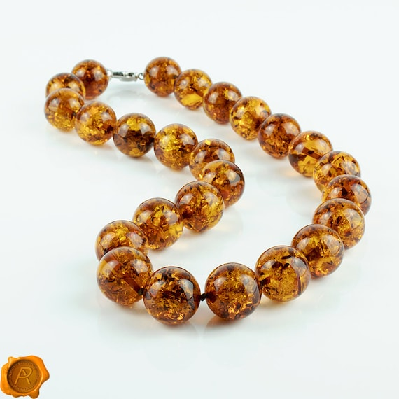 Baltic Amber Massive Adult Necklace with Raw Unpolished Honey Color Beads