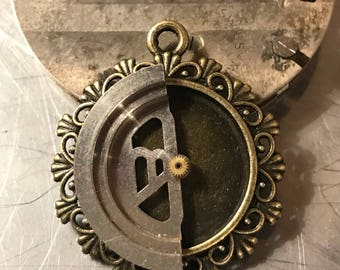 Steampunk Pendant, Made with Watch Parts, Clockwork Necklace