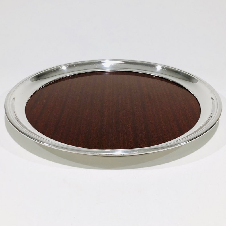 14 Inch Vintage Silver Edge Formica Bar Tray Vintage Mid-Century Crescent Silver-plate Edge Large Round Woodgrain Formica Serving Tray