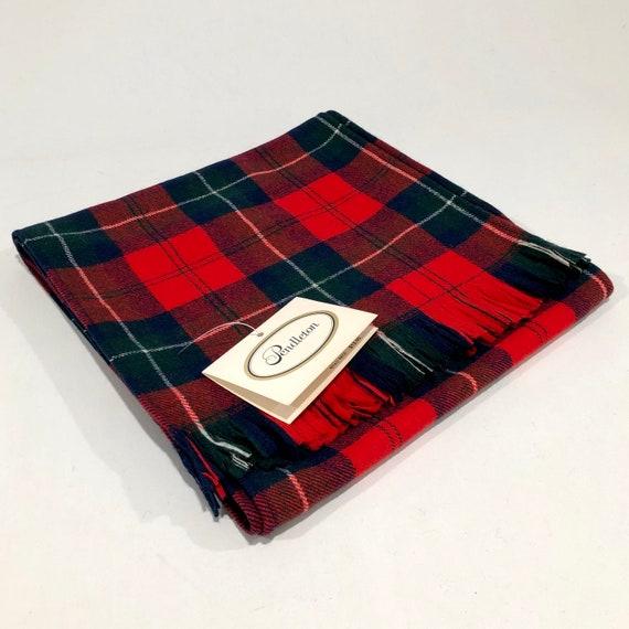 1970s Pendleton Red Tartan Plaid Wool Scarf, Vinta