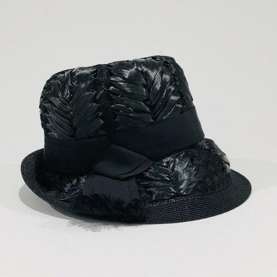 Vintage Schiaparelli Hat, Black Raffia with Grosg… - image 2