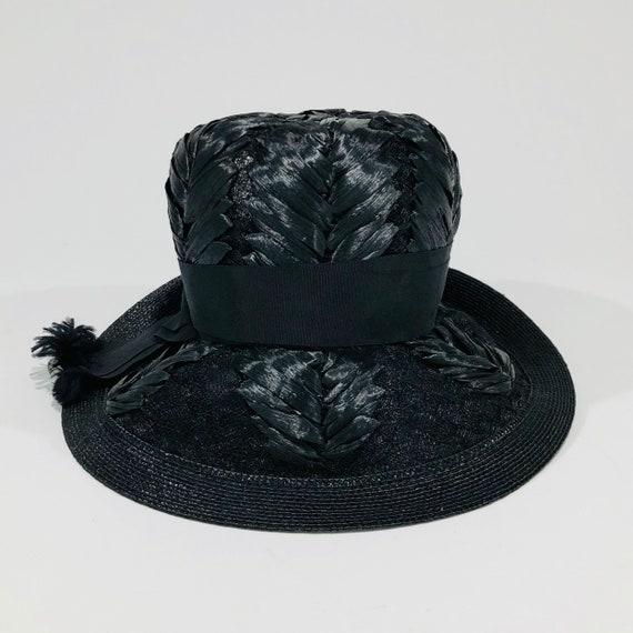 Vintage Schiaparelli Hat, Black Raffia with Grosg… - image 6