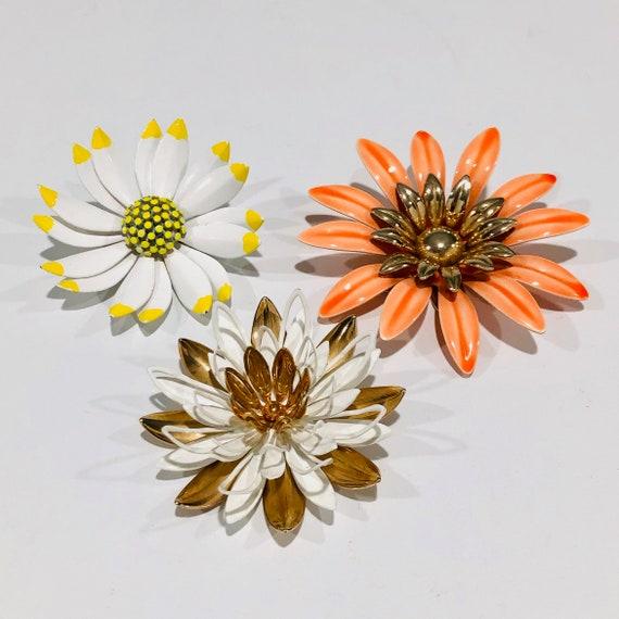 1960s Enamel Mod Flower Pins, Set of 3, Sarah Cove