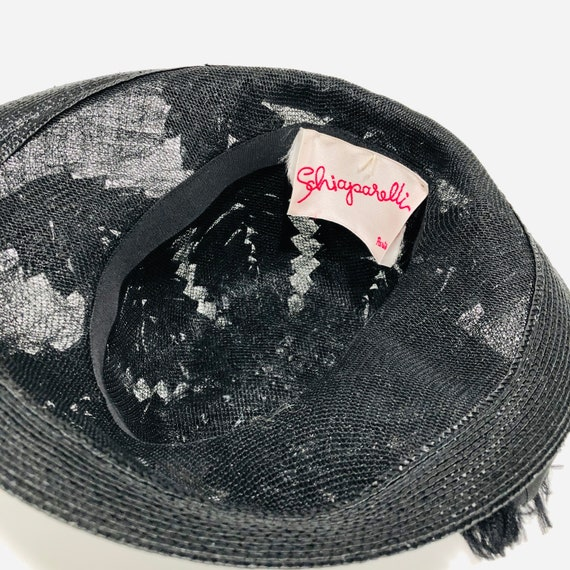 Vintage Schiaparelli Hat, Black Raffia with Grosg… - image 9
