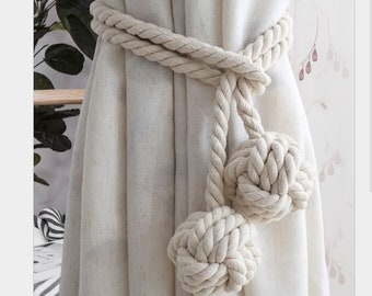 FREE Shipping Curtain Tie back CREAM Beige Nautical Rope Tie Backs for Curtain Nautical Beach Decor Rope Natural Decor
