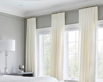 Pair Of White Velvet Curtains, Bedroom Velvet Curtains, Living Room Velvet  Curtains, Off White Velvet Curtains