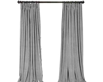 gray velvet curtains eyelet pair of grey velvet curtains bedroom light living room custom curtains gray velvet curtains etsy