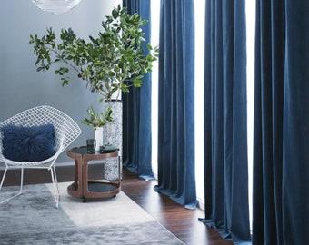 Pair Of Navy Blue Velvet Curtains, Bedroom Velvet Curtains, Living Room  Velvet Curtains, Custom Curtains