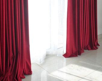Pair Of Red Velvet Curtains Bedroom Living Room Custom