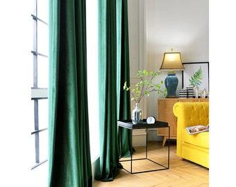 Pair Of Emerald Green Velvet Curtains Bedroom Living Room Custom
