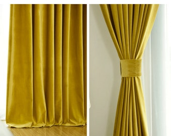 Pair Of Gold Velvet Curtains Bedroom Living Room Custom