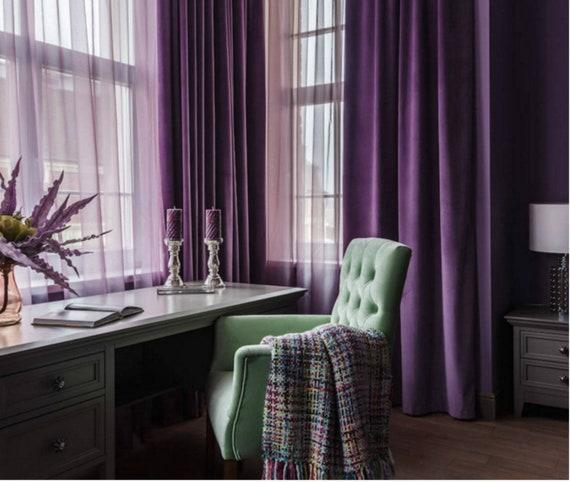 Pair Of Purple Velvet Curtains Bedroom Velvet Curtains Etsy