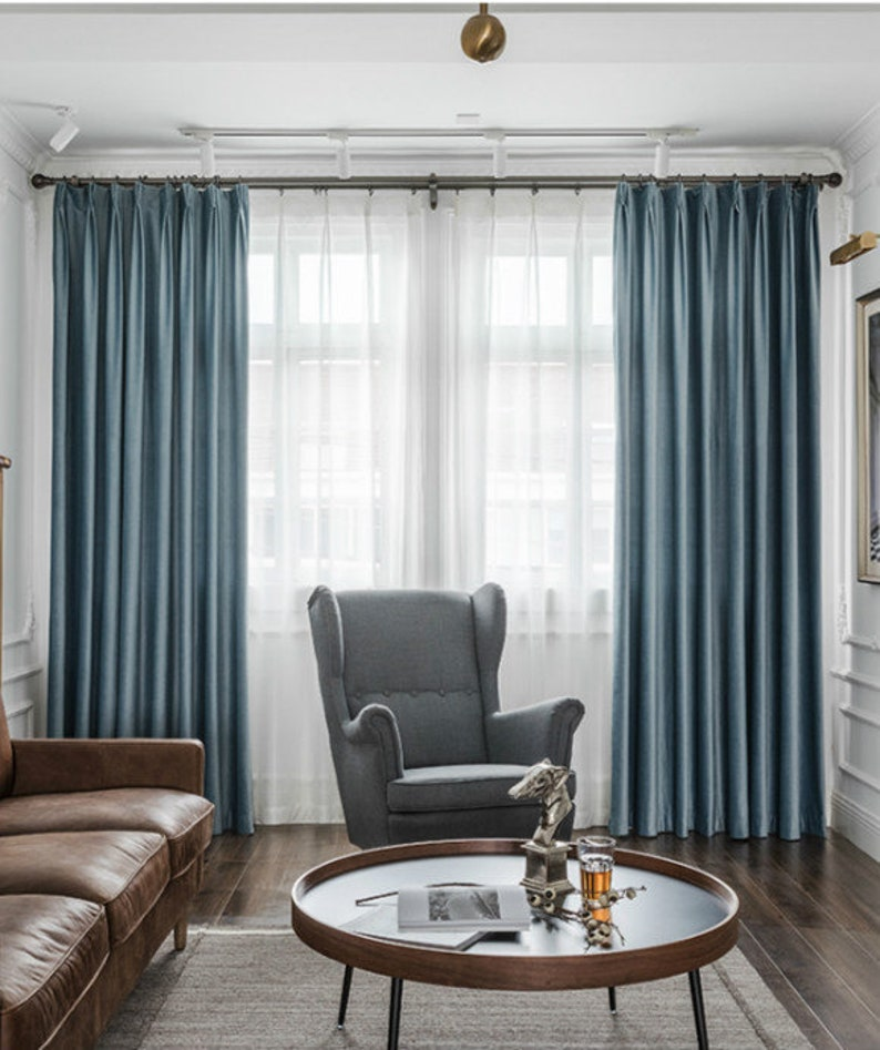 Pair of Blue Mirage Velvet Curtains, Bedroom Blue Velvet Curtains, Living  Room Velvet Curtains, Custom Curtains