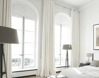 White Curtain Panels, White drapes, Custom Curtains, Off White Curtains, Cream White Linen Blend Heavy Weight, 50% Blackout, Extra Long
