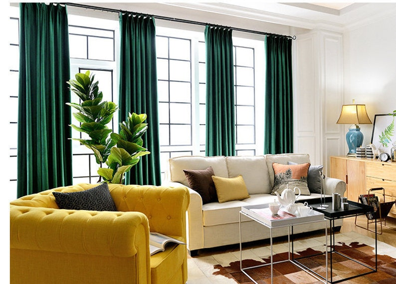 Pair of Emerald Green Velvet Curtains, Bedroom Velvet Curtains, Living Room  Velvet Curtains, Custom Curtains