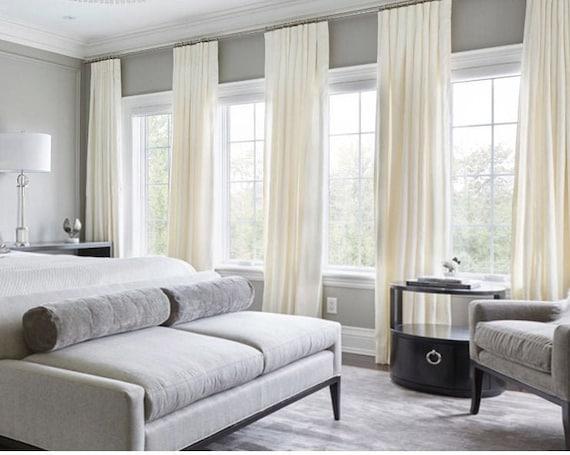 Pair of White Velvet Curtains, Bedroom Velvet Curtains, Living Room Velvet  Curtains, Off White Velvet Curtains