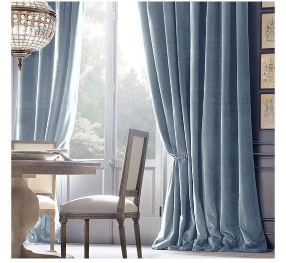 Light Blue Curtains Living Room.Pair Of Baby Blue Velvet Curtains Bedroom Velvet Curtains Living Room Velvet Curtains Custom Curtains
