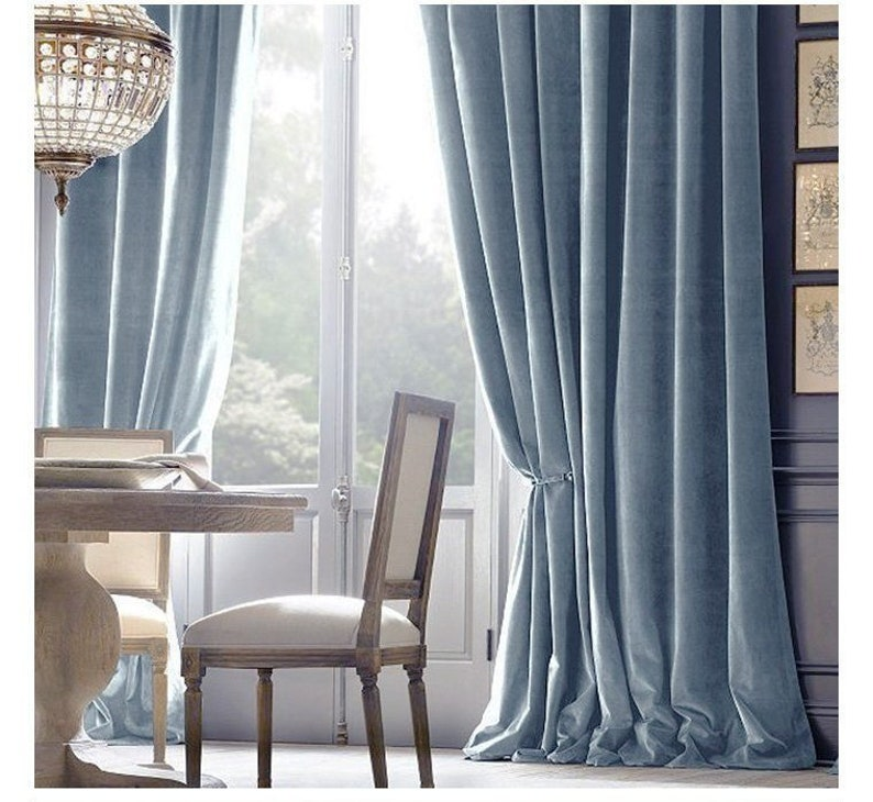 Pair of Baby Blue Velvet Curtains, Bedroom Velvet Curtains, Living Room  Velvet Curtains, Custom Curtains